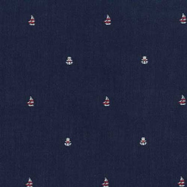 "Robert Kaufman Sailor's Dobby - Sailboat in Navy Blue (57"" wide)"