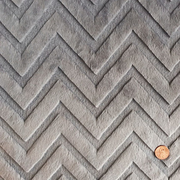 Shannon Fabrics - Embossed Chevron Cuddle in Pewter (1/2 yard)