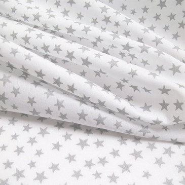 Metallic Silver Stars on White (Batiste Cotton; French Import)