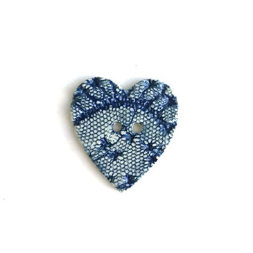 Blue Lace Heart Ceramic Button