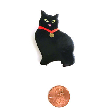 Black Cat Ceramic Brooch