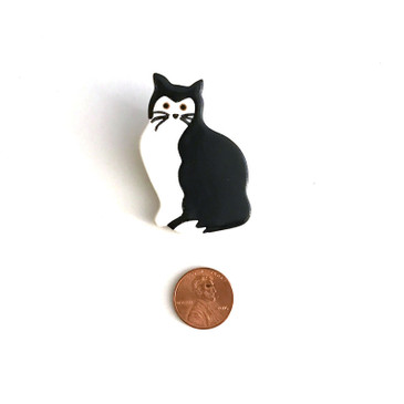 Black and White Cat Ceramic Brooch