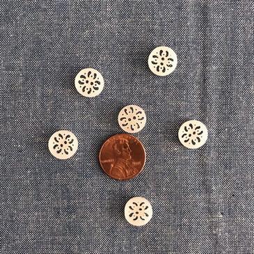 """Laser Cut White Button 11.5 mm (0.45"""")"""