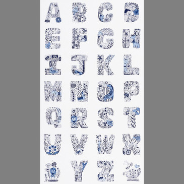 "Lettered by Carmen Mok - A-Z Blue and White - 24"" panel"