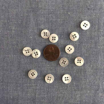 "White Mother of Pearl Thick Border Button - 10 mm (3/8"")"