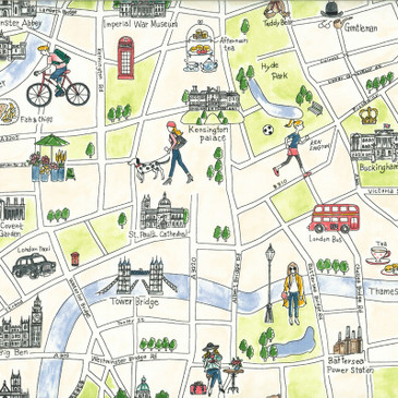 Lecien:  L Collection - London Map in Cream (Oxford)