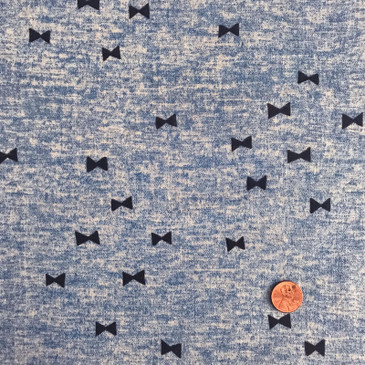 Kokka - Bow Tie on Marled Blue (double gauze)