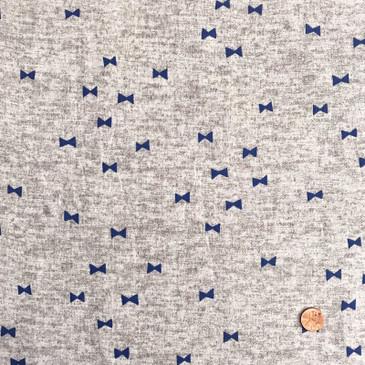 Kokka - Bow Tie on Marled Gray (double gauze)