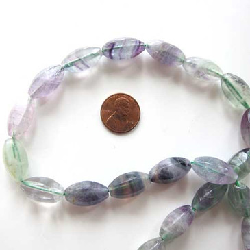 Multi-coloured Fluorite 20mm Olive Shaped Bead