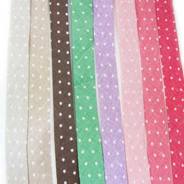 "Mini Dot Single Fold 3/4"" Bias Binding Tape (various colors)"