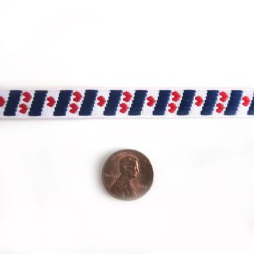 """Hearts & Stripes 3/8"""" Jacquard Ribbon"""