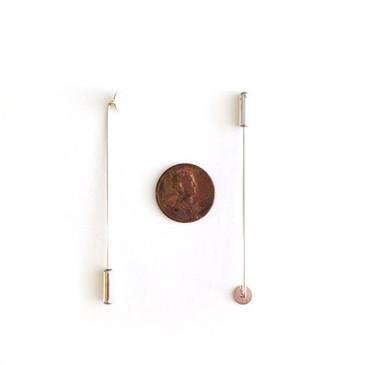 "Silver Stick Pin Clutch - Brooch - 2 3/8"" (60 mm) long"