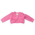 Bebe Nina Long Sleeve Cardigan with Fringing - Hot Pink