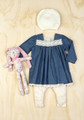 Bebe Nina Long Sleeve Chambray Dress with Lace Detail (00 - 18 mths)