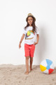 Havoc Denim Toucan Tee and Coral Denim Shorts.