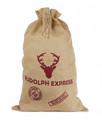 Natural Jute Santa Sack - Rudolph Express