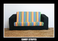 Candy Stripes Kids Flip Out Sofa - Blue Denim Base