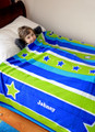 Personalised Blanket - Green & Blue Stripe