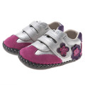 Little Blue Lamb Baby girls velcro tab shoe with flower