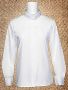 Tab Collar Women's Clergy Shirt White LS