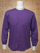 Men's Neckband Long-Sleeve Shirt Purple and White Cuffs