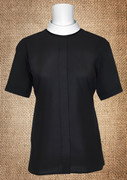 Women's Neckband Short-Sleeve Blouse Black