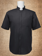 Tab Collar Men's Clergy Shirt Black SS
