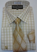 *Platinum Collection* Plaid Style 4 Pc. Fashion Dress Shirt - Gold