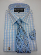 *Platinum Collection* Plaid Style 4 Pc. Fashion Dress Shirt - Blue
