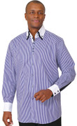 **Extreme Deal** Double-Colar Fashion Dress Shirt - Navy