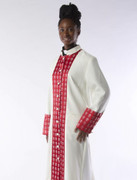 -One Weekend- Womens Designer Clergy Cassock with Woven Clergy Design  - Candle and Red