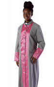 -One Weekend- Womens Designer Clergy Cassock with Woven Clergy Design  - Silver and Dark Pink