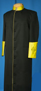 CI- Men's Clergy Cassock - Solid Black & Gold Satin