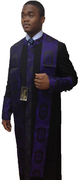 Men's Clergy Cassock - Black Featuring Purple Church Fabric