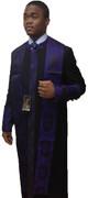 Men's Clergy Cassock - Black Featuring Purple Church Fabric
