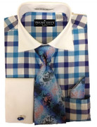*Platinum Collection* Gingham Style 4 Pc. Fashion Dress Shirt - Blue Checks