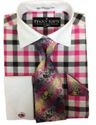*Platinum Collection* Gingham Style 4 Pc. Fashion Dress Shirt - Fuschia Checks