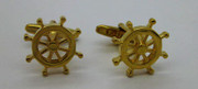 "Gold ""I'M ON A BOAT"" Classic Boat Steering Wheel Cufflinks"