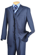 """ULTIMATE"" 56L Men's 3 Pc. Insignia Blue Strong Striped Classy Fashion Big & Tall Suit"