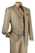 """ULTIMATE"" 42R Men's 3 Pc. Beige Strong Striped Classy Fashion Suit"