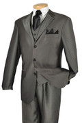 """ULTIMATE"" 42S Men's 3 Pc. Gray Strong Striped Classy Fashion Suit"