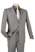 """ULTIMATE"" 42L Men's 2 Pc. Gray Slim Fit Pinstripe Classy Quality Suit"