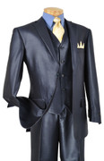 """ULTIMATE"" 52L Men's 3 Pc. Fashion Fancy Premium Blue Sharksin Suit"