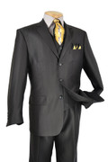 """ULTIMATE"" 46L Men's 3 Pc. Black Fashion Sharkskin Suit"