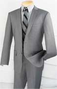 """""""ULTIMATE"""" 42R Men's 2 Pc. Gray Solid Slim Fit Classy Quality Suit"""