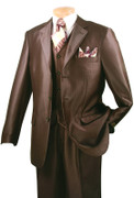 """ULTIMATE"" 50L Men's 3 Pc. Brown Shadow Stripe Fashion Sharkskin Suit"