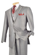 """ULTIMATE"" 48L Men's 3 Pc. Fashion Fancy Premium Silver Sharksin Suit"
