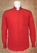 Tab Collar Men's Clergy Shirt Red LS