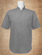 Tab Collar Men's Clergy Shirt Grey SS
