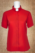 Tab Collar Women's Clergy Shirt Red Short Sleeves